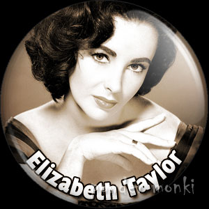 ElizabethTaylor - Vintage Movie Star Badge/Magnet