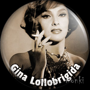 Gina Lollobrigida - Vintage Movie Star Badge/Magnet