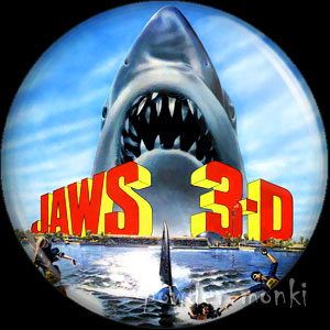 Jaws 3D - Retro Movie Badge/Magnet