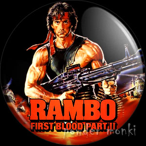 Rambo II - Retro Movie Badge/Magnet