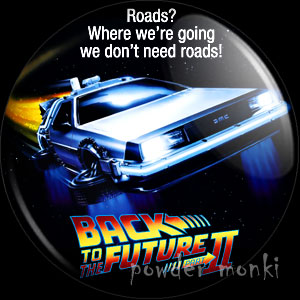 Back To The Future II - Retro Movie Badge/Magnet [Delorean]