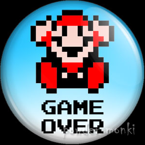 "Mario ""Game Over"" - Retro Gamer Badge/Magnet"