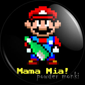 "Mario ""Mama Mia!"" - Retro Gamer Badge/Magnet"