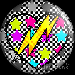 Stars Heart - Retro 80's Badge/Magnet