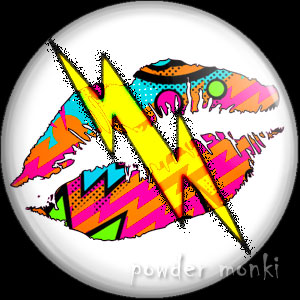 Multi-Coloured Lips Lightning - Retro 80's Badge/Magnet
