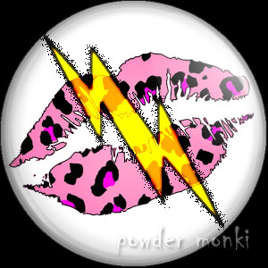 Pink Leopard Lips Lightning - Retro 80's Badge/Magnet