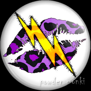 Purple Leopard Lips Lightning - Retro 80's Badge/Magnet