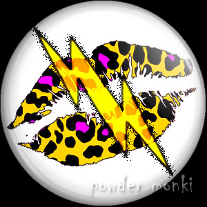 Yellow Leopard Lips Lightning - Retro 80's Badge/Magnet