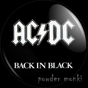 "AC/DC ""Back In Black"" - Retro Music Badge/Magnet"