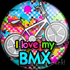 I Love My BMX - Retro 80's Badge/Magnet