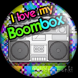 I Love My Boombox - Retro 80's Badge/Magnet