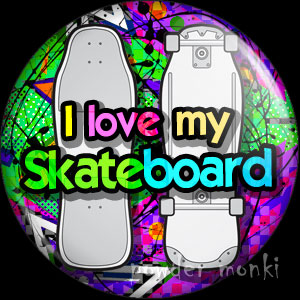 I Love My Skateboard - Retro 80's Badge/Magnet