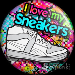 I Love My Sneakers - Retro 80's Badge/Magnet