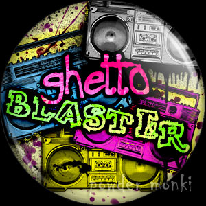 Graffiti Ghetto Blaster Boombox - Retro 80's Badge/Magnet