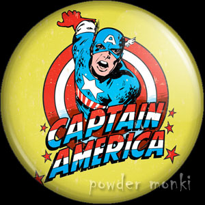 Captain America - Retro Comic Badge/Magnet