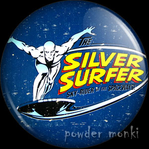 Silver Surfer - Retro Comic Badge/Magnet