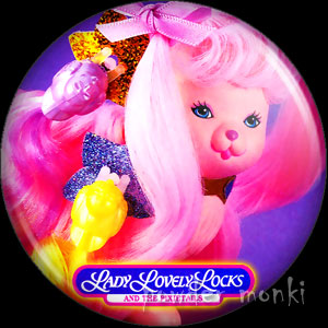 "Lady LovelyLocks ""Silky Pup"" - Retro Toy Badge/Magnet"