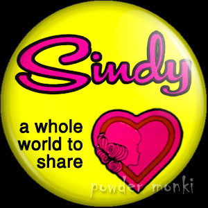"Sindy ""A whole world to share"" - Retro Toy Badge/Magnet"