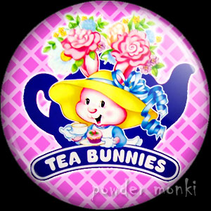 Tea Bunnies - Retro Toy Badge/Magnet