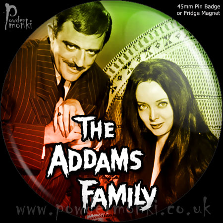 "Addams Family ""Gomez & Morticia"" - Retro Cult TV Badge/Magnet"