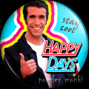 "Happy Days ""Fonzie"" - Retro Cult TV Badge/Magnet"