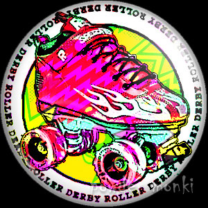 Skate Boot - Roller Derby Badge/Magnet 2
