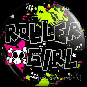 Roller Girl & Skull - Roller Derby Badge/Magnet