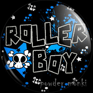 Roller Boy & Skull - Roller Derby Badge/Magnet