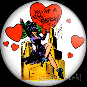 """You're A Real Catch"" - Retro Valentine Badge/Magnet (2)"