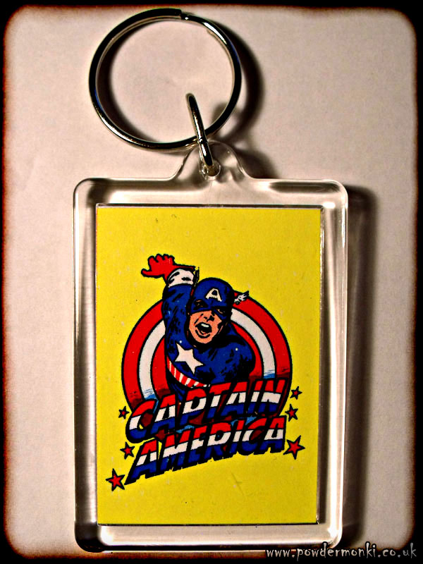 Captain America - Retro Superhero Keyring