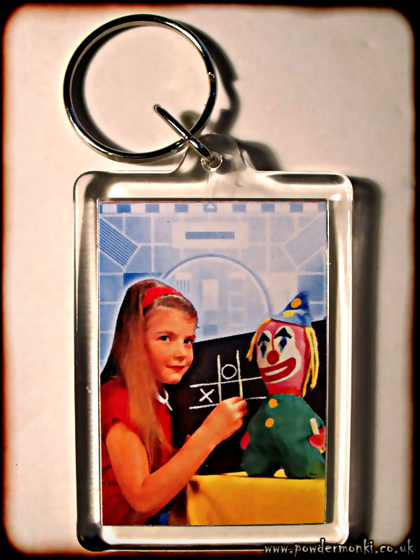 BBC Test Card Girl and Clown - Retro TV Keyring