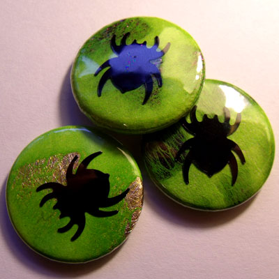 Neon Green Spider Badge