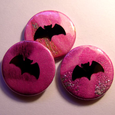 Neon Pink Bat Badge