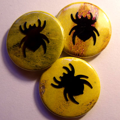 Neon Yellow Spider Badge