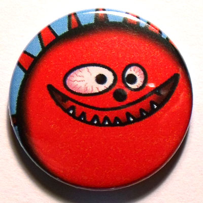 Red Monster Button Badge