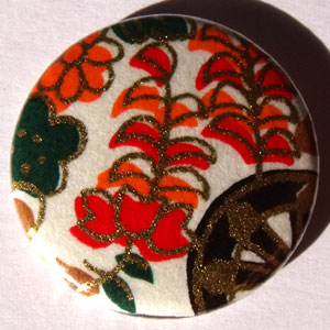 White Orange Green Chinese Floral 25mm Button Badge