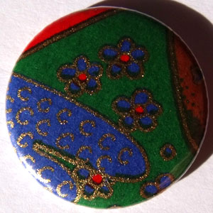 Green Blue Red Chinese Floral 25mm Button Badge