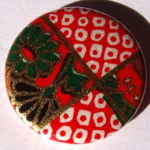 Red White Green Chinese Floral 25mm Button Badge