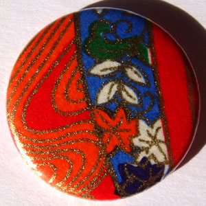 Orange Blue 1 Chinese Floral 25mm Button Badge