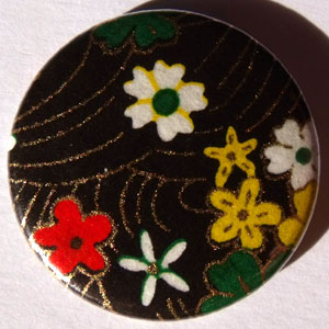 Blue Green Red White Chinese Floral 25mm Button Badge