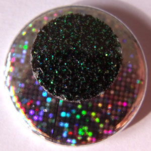 Hologram & Dark Green Glitter 25mm Button Badge