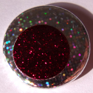 Hologram & Dark Red Glitter 25mm Button Badge