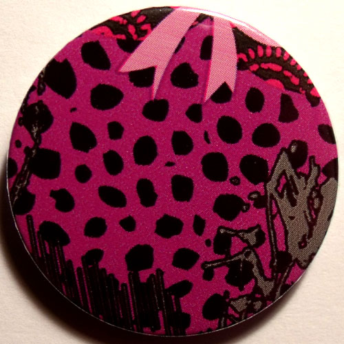 Pink Black 1 Grungy Abstract Floral 38mm Badge