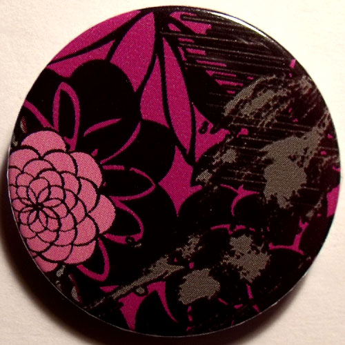 Pink Black Gray 2 Grungy Abstract Floral 38mm Badge