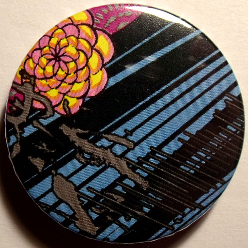 Blue Black Yellow Grungy Abstract Floral 38mm Badge