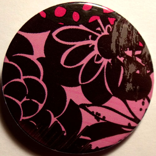 Pink Black 2 Grungy Abstract Floral 38mm Badge