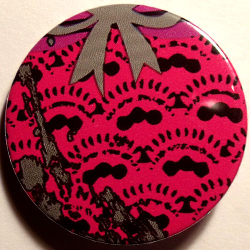 Pink Black 3 Grungy Abstract Floral 38mm Badge