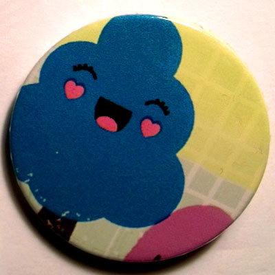 Blue Tree Cute Smiley Characters 38mm