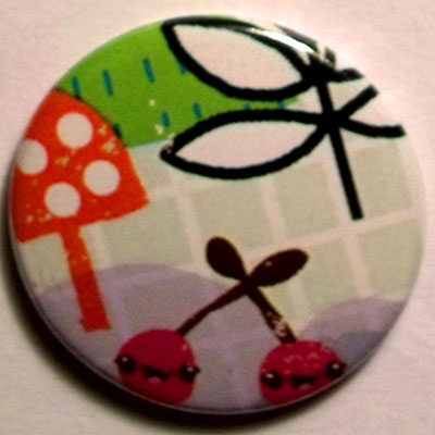 Cherries & Trees Cute Smiley Badge 25mm