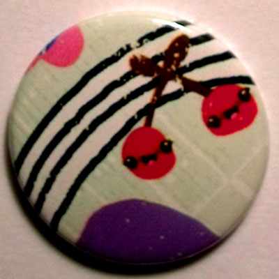 Cherries & Stripes Cute Smiley Badge 25mm